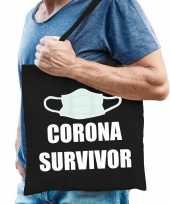 Corona survivor katoenen tas zwart voor heren