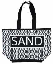 Damestas strandtas zigzag zwart wit sand 58 cm