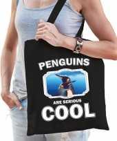 Dieren pinguin tasje zwart volwassenen en kinderen penguins are cool cadeau boodschappentasje