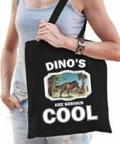 Dieren t rex dinosaurus tasje zwart volwassenen en kinderen dinosaurs are cool cadeau boodschappen