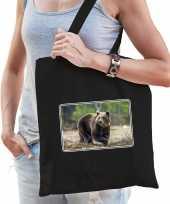 Dieren tas van katoen met beren foto zwart voor volwassenen