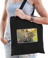 Dieren tas van katoen met jaguars foto zwart voor volwassenen