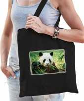 Dieren tas van katoen met pandaberen foto zwart voor volwassenen
