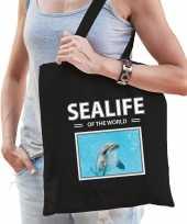 Dolfijn tasje zwart volwassenen en kinderen sealife of the world kado boodschappen tas