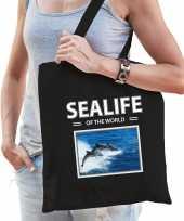 Dolfijnen tasje zwart volwassenen en kinderen sealife of the world kado boodschappen tas