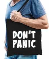 Dont panic geen paniek cadeau tas zwart voor heren