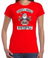 Fout kerstshirt outfit santas angels northpole rood voor dames