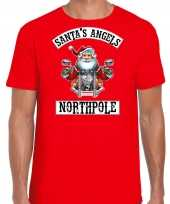 Fout kerstshirt outfit santas angels northpole rood voor heren