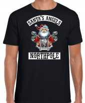 Fout kerstshirt outfit santas angels northpole zwart voor heren