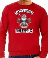 Foute kerstsweater outfit santas angels northpole rood voor heren