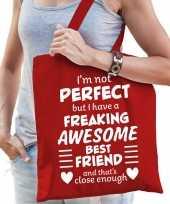 Freaking awesome best friend beste vriend cadeau tas rood dame