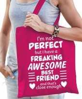 Freaking awesome best friend beste vriend cadeau tas roze dames
