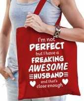 Freaking awesome husband echtgenoot cadeau tas rood voor dames