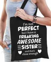 Freaking awesome sister zus cadeau tas zwart voor dames