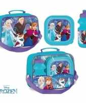 Frozen lunchbox set blauwe bidon broodtrommel tas