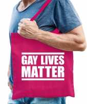 Gay lives matter anti homo discriminatie tas fuchsia roze voor heren