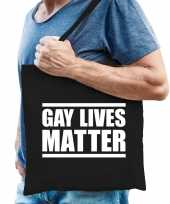 Gay lives matter anti homo discriminatie tas zwart voor heren