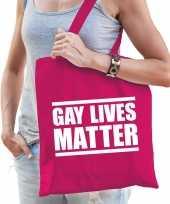 Gay lives matter anti homo lesbo discriminatie tas fuchsia roze voor dames