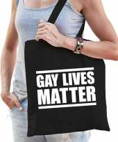 Gay lives matter anti homo lesbo discriminatie tas zwart voor dames