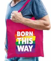 Gay pride born this way tas katoen fuchsia roze