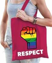 Gay pride respect katoenen tas roze