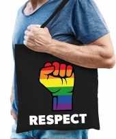 Gay pride respect katoenen tas zwart