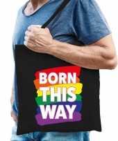 Gaypride born this way tas katoen zwart