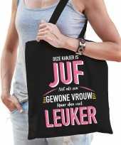 Gewone vrouw juf katoenen cadeau tas zwart voor dames