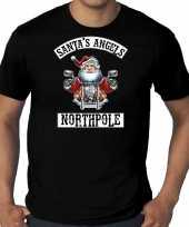 Grote maten fout kerstshirt outfit santas angels northpole zwart voor heren