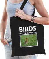 Grutto vogel tasje zwart volwassenen en kinderen birds of the world kado boodschappen tas