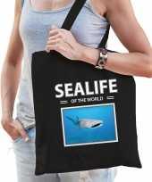 Haaien tasje zwart volwassenen en kinderen sealife of the world kado boodschappen tas