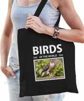 Havik roofvogel tasje zwart volwassenen en kinderen birds of the world kado boodschappen tas