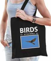 Havik vogel tasje zwart volwassenen en kinderen birds of the world kado boodschappen tas