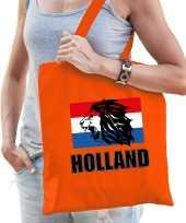 Holland leeuw met vlag supporter cadeau tas oranje voor dames en heren