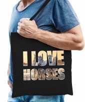 I love horses paarden katoenen dieren tas zwart heren