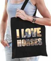 I love horses paarden katoenen tas zwart dames