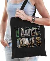 I love owls uilen katoenen tas zwart dames
