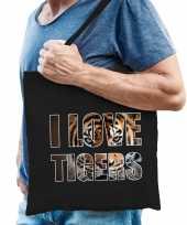 I love tigers tijgers katoenen dieren tas zwart heren