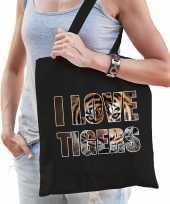 I love tigers tijgers katoenen tas zwart dames