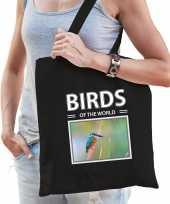 Ijsvogel tasje zwart volwassenen en kinderen birds of the world kado boodschappen tas