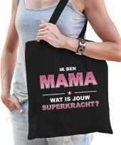 Ik ben mama wat is jouw superkracht tasje zwart voor dames cadeau tas mama moederdag