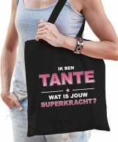 Ik ben tante wat is jouw superkracht tasje zwart voor dames cadeau tas tante