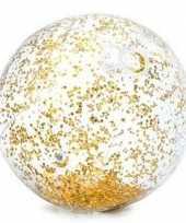 Intex opblaasbare gouden glitter strandbal 71 cm speelgoed