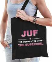 Juf the legend katoenen cadeau tas zwart voor dames