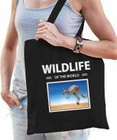 Kangoeroe tasje zwart volwassenen en kinderen wildlife of the world kado boodschappen tas