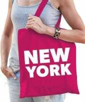 Katoenen amerika wereldstad tasje new york roze