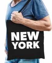 Katoenen amerika wereldstad tasje new york zwart