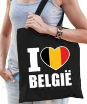 Katoenen belgisch tasje i love belgie zwart