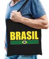 Katoenen brazilie supporter tasje brasil zwart