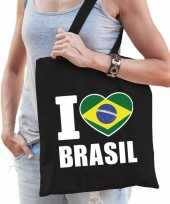 Katoenen brazilie tasje i love brasil zwart